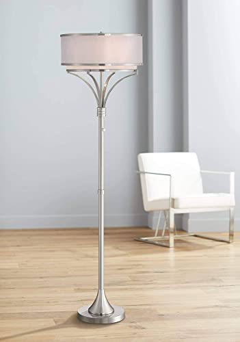 Candice Modern Floor Lamp Brushed Nickel Dual Silver Organza White Linen Drum Shade