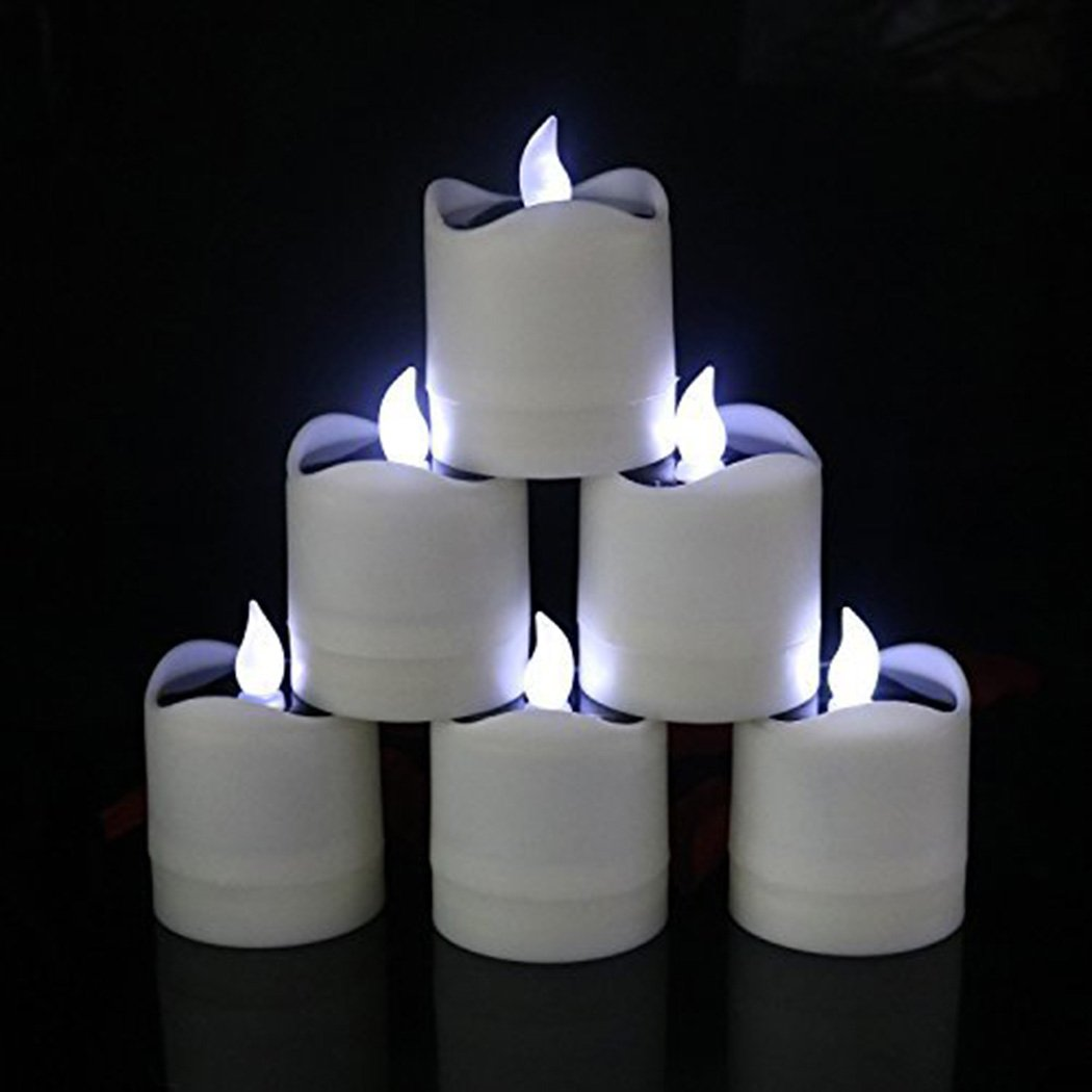 6 Pcs Solar LED Candles Waterproof Romantic Electronic Tealight Solar Candles Fake Candles Solar Emergency Night Light for Camping Traveling Outdoor Home Party Decoration (Cool-White Flickering) by Little bees