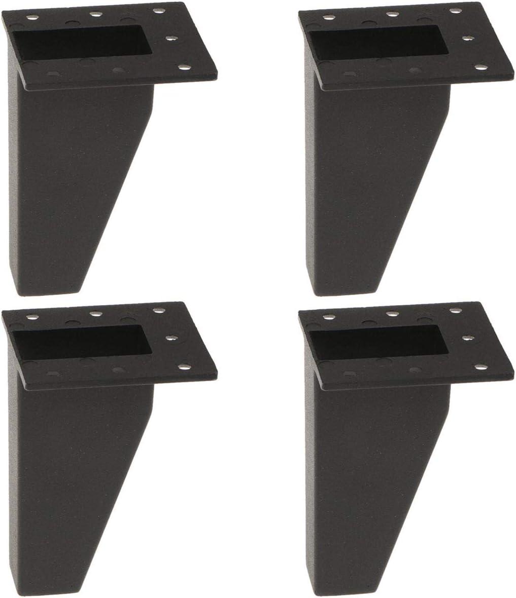 4 inch / 10cm Furniture Legs, La Vane Set of 4 Aluminium Metal Oblique Furniture Feet Black for Cabinet Cupboard Sofa Table Dresser