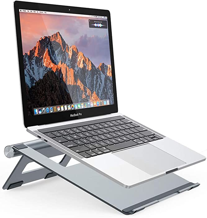 "Nulaxy Portable Laptop Stand, Aluminum Cooling Stand with Heat-Vent, Adjustable Laptop Holder Riser for MacBook, Pro, Air, Samsung, Dell and More 10-17.3"" Notebook - Grey"