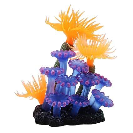 TOPINCN Artificial Coral Acuario Pecera Simulación Silicona Plantas Flor Plástico Suave Mar Anémona Paisaje Decoración