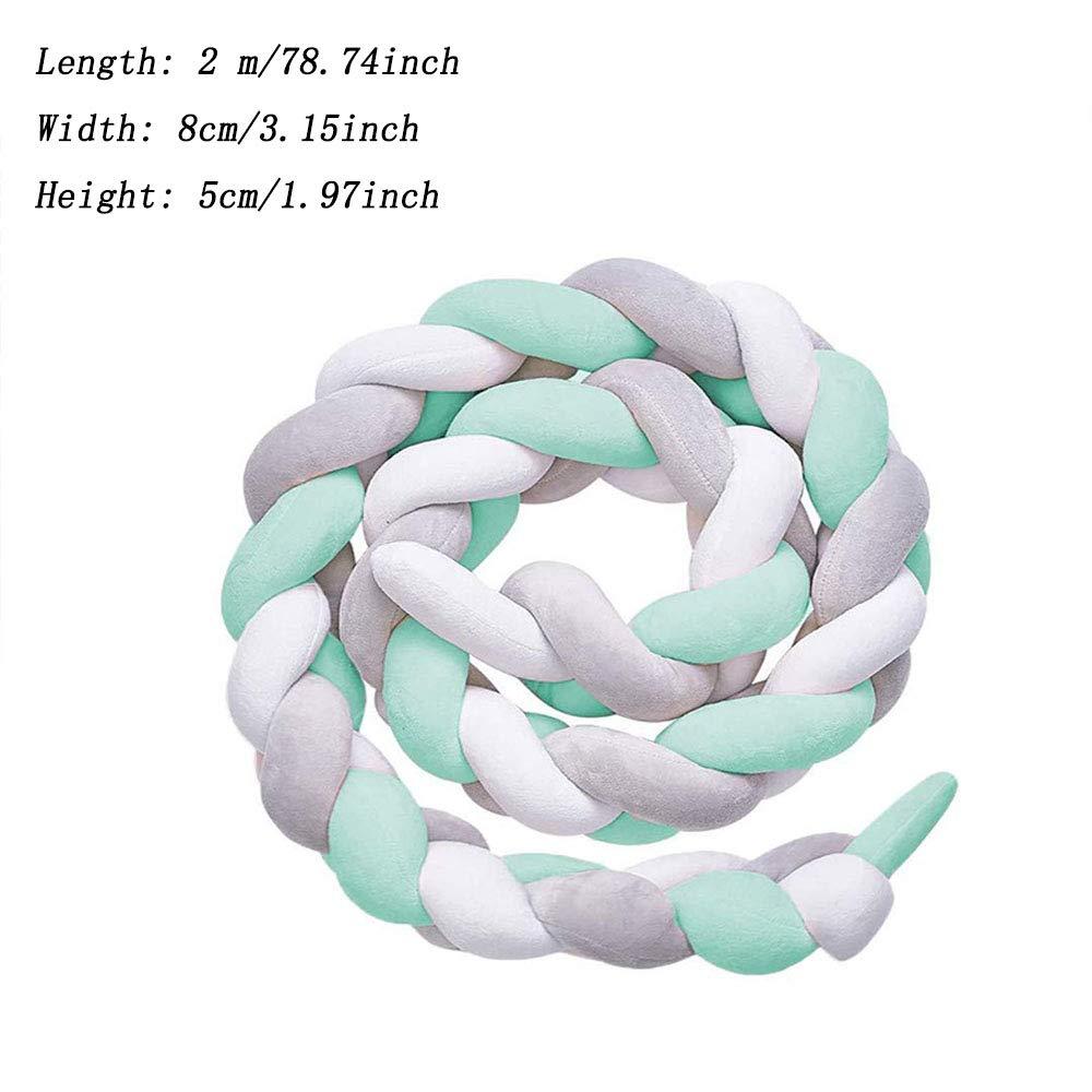 Blanc+ Gris+Vert Pare-Berceau Tress/é /à La Main de 2m,Lit Superpos/é Fronti/ère Armure Tress/ée D/écoration de Pare-Chocs Pour La Literie de B/éb/é Tresses Serpents Lit B/éb/é Pare-Chocs