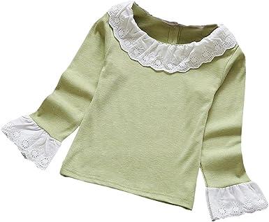 OverDose Moda bebé Ninas Blusa Cordones rizados Camisetas para el otoño y Invierno y Primavera
