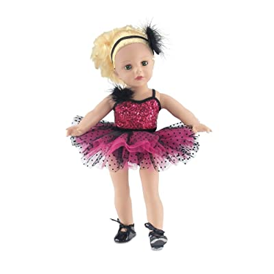 18 Inch Doll Clothes | Amazing Pink and Black Jazz Ballet Outfit, Includes Shimmery Beaded Leotard with Feather, Gorgeous Tutu, Matching Headband and Black Tap Shoes | Fits American Girl Dolls: Toys & Games