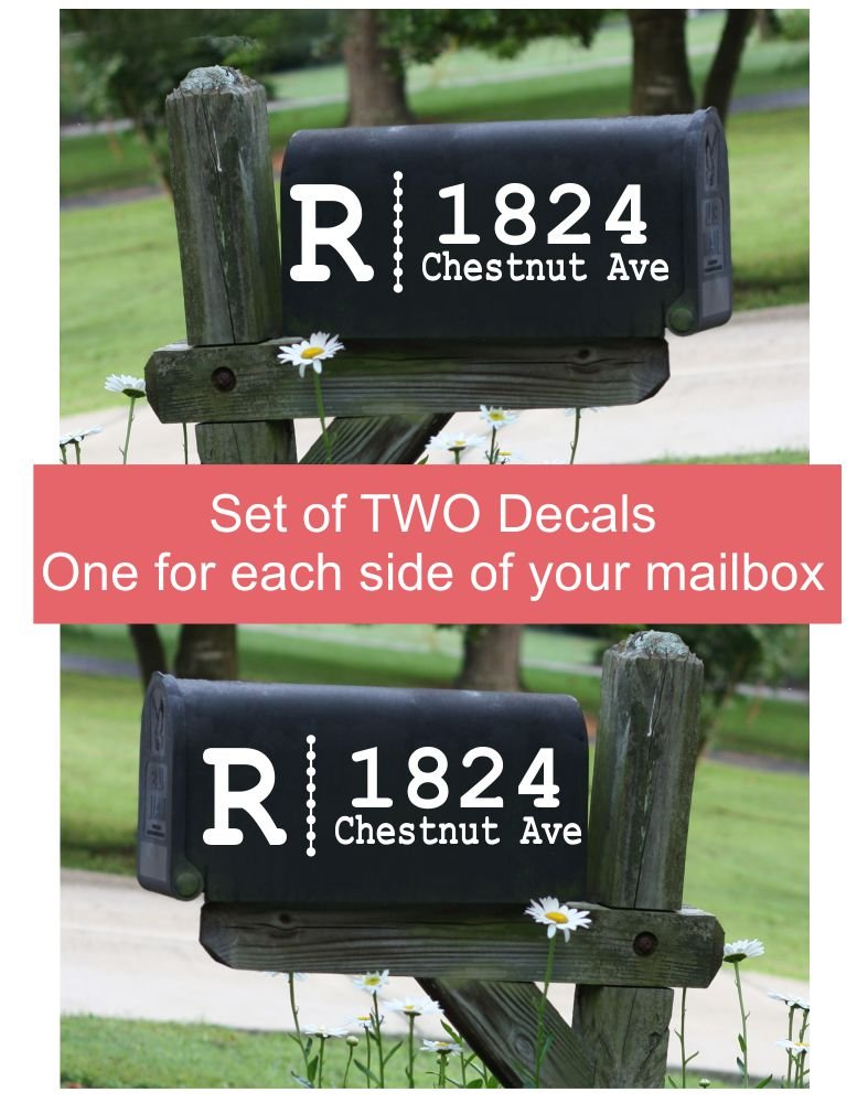 Monogram with Dots Personalized Mailbox Decals Stickers Vinyl Address, Set of 2 Jumbo by Wall Decor Plus More (Image #9)