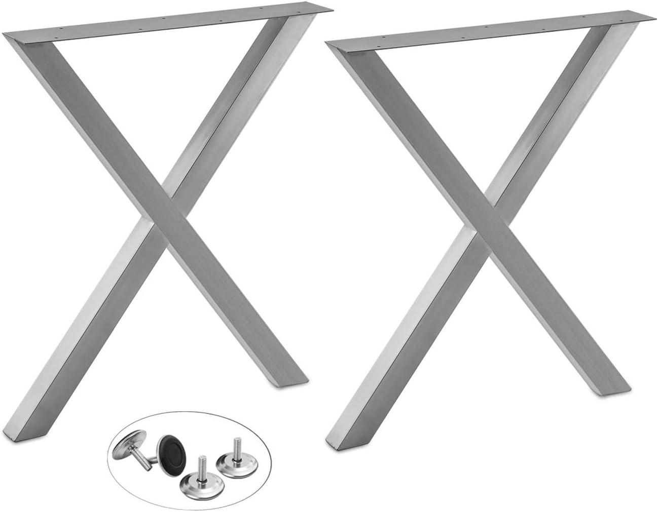 X Shape Furniture Legs- 2 Pack - 28H24W - w/Adjustable Leveling Feet - DIY Stainless Steel Hairpin Legs,Coffee Table Legs,Bench Legs, Desk Legs