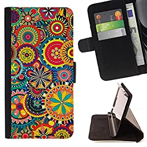 DEVIL CASE - FOR Sony Xperia Z1 L39 - Floral Pattern Wallpaper Art Colorful Blooming - Style PU Leather Case Wallet Flip Stand Flap Closure Cover