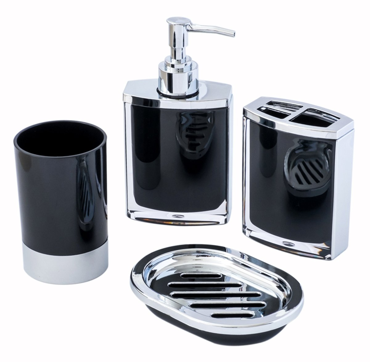 4-Piece Vogue Black and Chrome Jewelry Bathroom & Shower Accessory Set; with Lotion/Soap Dispenser, Bath Cup/Tumbler, Soap Dish, Toothbrush Holder Match for Marble or Glass Modern Bath Style