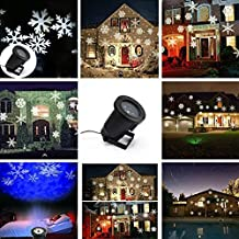 UltraStyle Led Landscape Projector Halloween Christmas Light Waterproof LED Snowflake Lighting ,4 Model Moving Snowflake Pattern Spotlights for Wall Garden, Lawn, Patio, Wedding, Party, Indoor, Outdoor Decorations - White