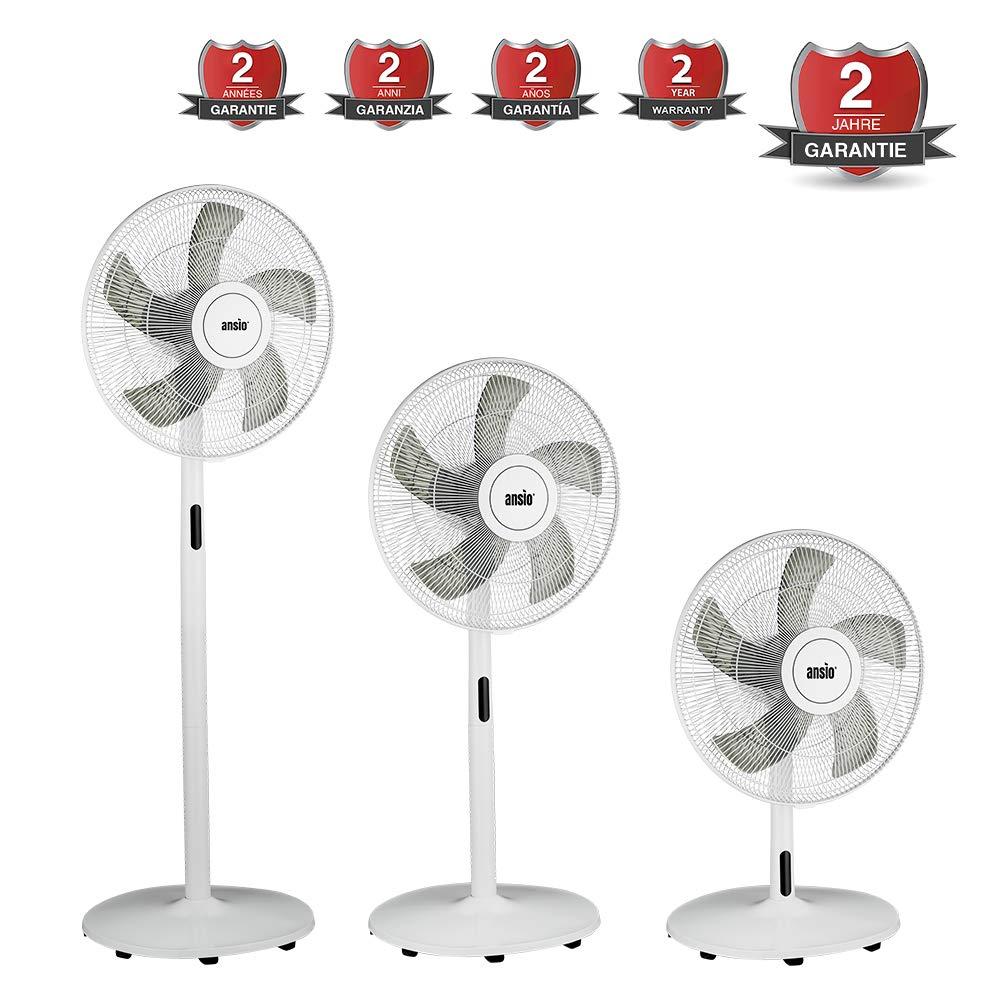 Blanc 40 cm ANSIO Ventilateur colonne de 16 pouces ventilateur sur pied /à 3 niveaux de vitesse Garanti 2 ans