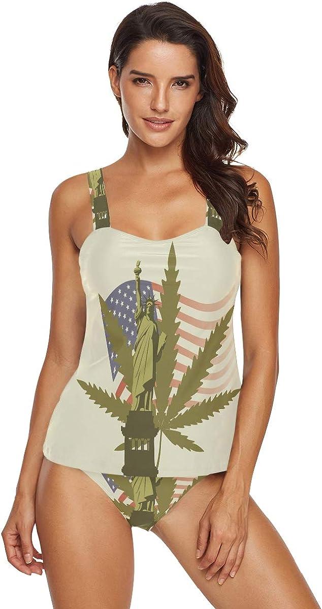 Conjunto de tankini halter para mujer, diseño de hoja de marihuana y bandera de Estados Unidos, bikini de 2 piezas