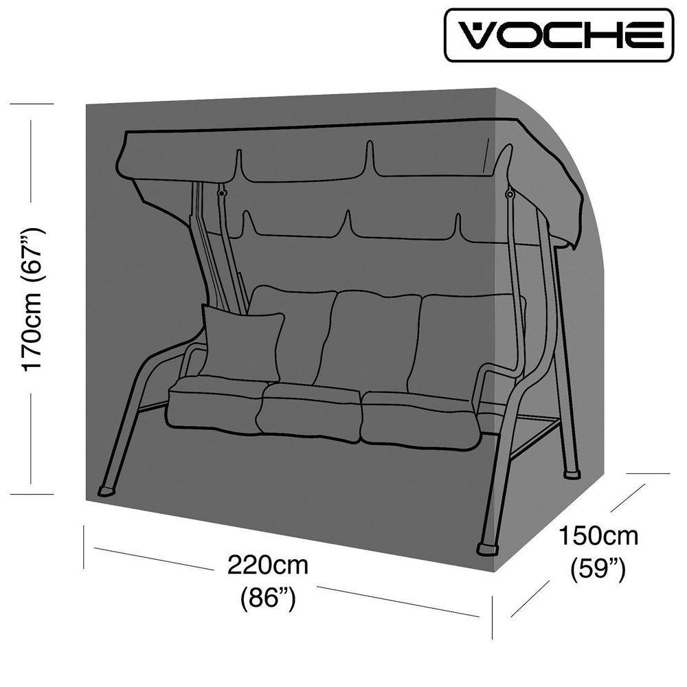 Voche/® Copertura Rinforzata Resistente Impermeabile 3/Dondolo da Giardino a posti con Zip