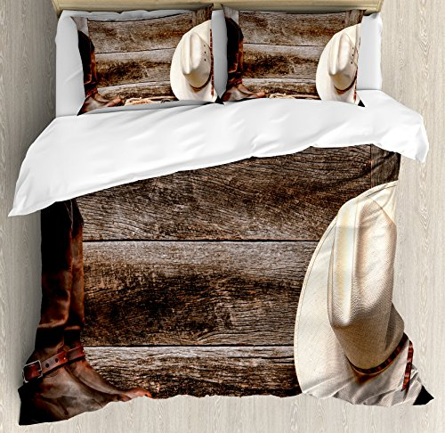 Western Decor King Size Duvet Cover Set by Ambesonne, American West Rodeo White Straw Cowboy Hat with Lariat Leather Boots on Rustic Barn Wood, Decorative 3 Piece Bedding Set with 2 Pillow Shams