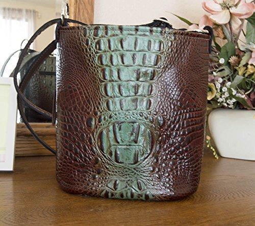Concealed Carry Purse - CCW Handbags Aqua Brown Crocodile Leather - Bucket