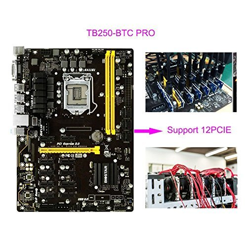 BIOSTAR TB250-BTC LGA1151 DDR4 Support 12 PCIE Graphics Cards PRO ATX Motherboards For Mining Machine (12-PCIE) ()