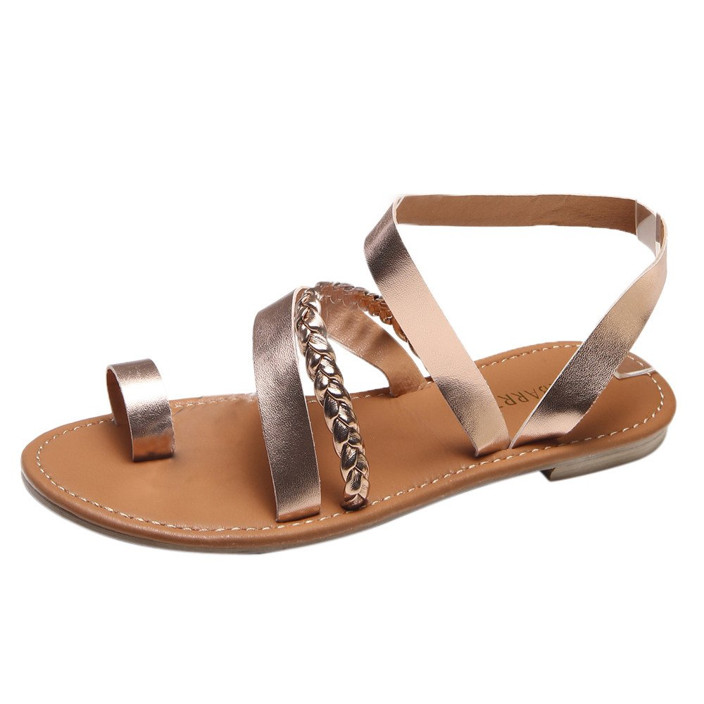 Sunyastor Women's Shoe Gladiator Strap Flat Sandal Flip Flop Straps Summer T-Strap Thong Roman Shoes Low Heel Beach Shoes Rose Gold