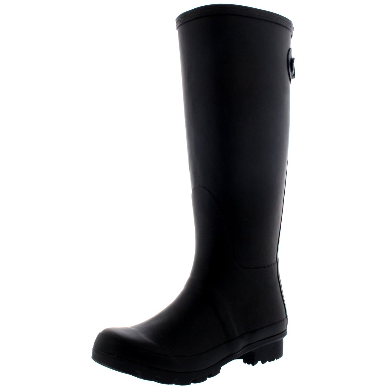 Womens Adjustable Back Tall Waterproof Winter Rain Wellies Wellington Boots - Black - 9-40 - CD0013