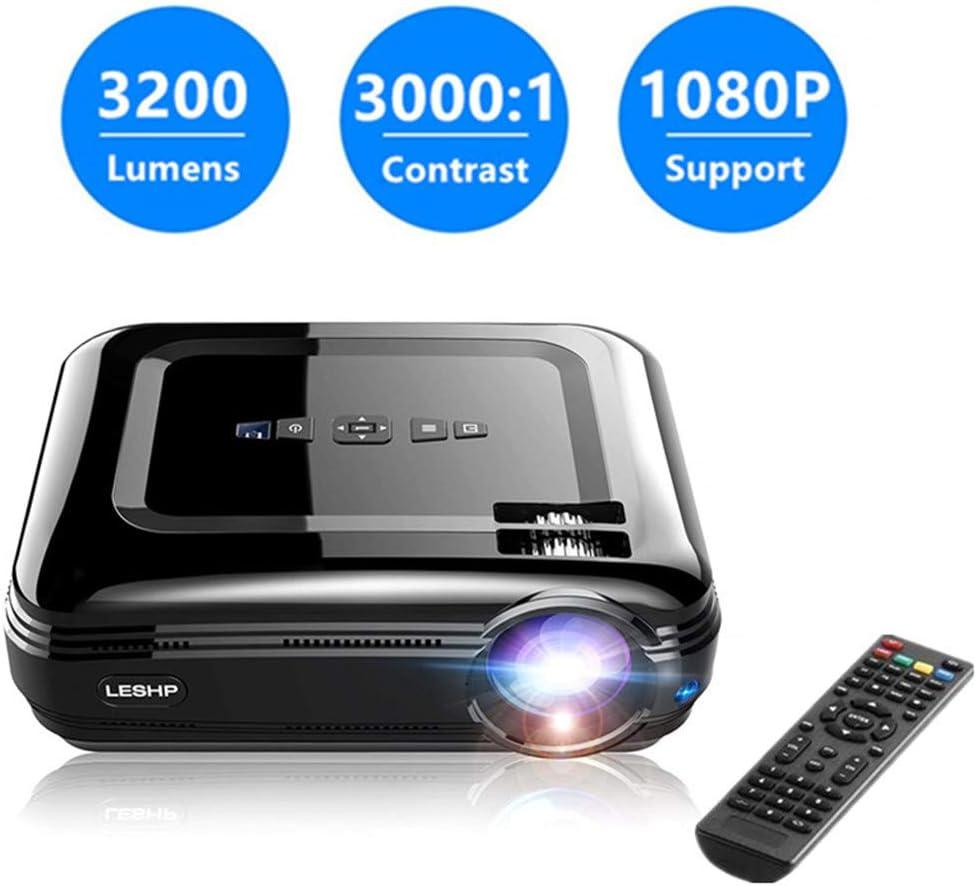 Full HD 1080P Per il Tablet PC//Smartphone Lampada LED da Lumen 3200 Contrasto 3000:1 Android 6.0 Blutetooth 4.0 1GB RAM//8GB ROM LESHP Proiettore