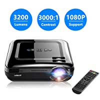 Proiettore, ROXTAK 3200 Lumen LED Portatile Proiettore Full HD , Contrasto 3000:1, Max Risoluzione 1080 x 1920,Aspect Ratio 4: 3/16: 9,Distanza di Proiezione 1.1~6m