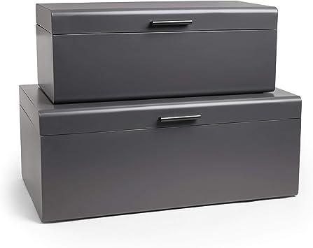 Vonhaus Juego de 2 Baúles Cofres de Metal Acero Caja de Almacenamiento para el Dormitorio y la Sala de Estar Vestidor – Gris carbón: Amazon.es: Bricolaje y herramientas