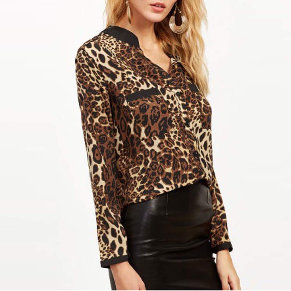 LILICAT/® Camiseta Estampada Leopardo Gasa Mujer Blusas Sueltas con Cuello en V Manga Larga
