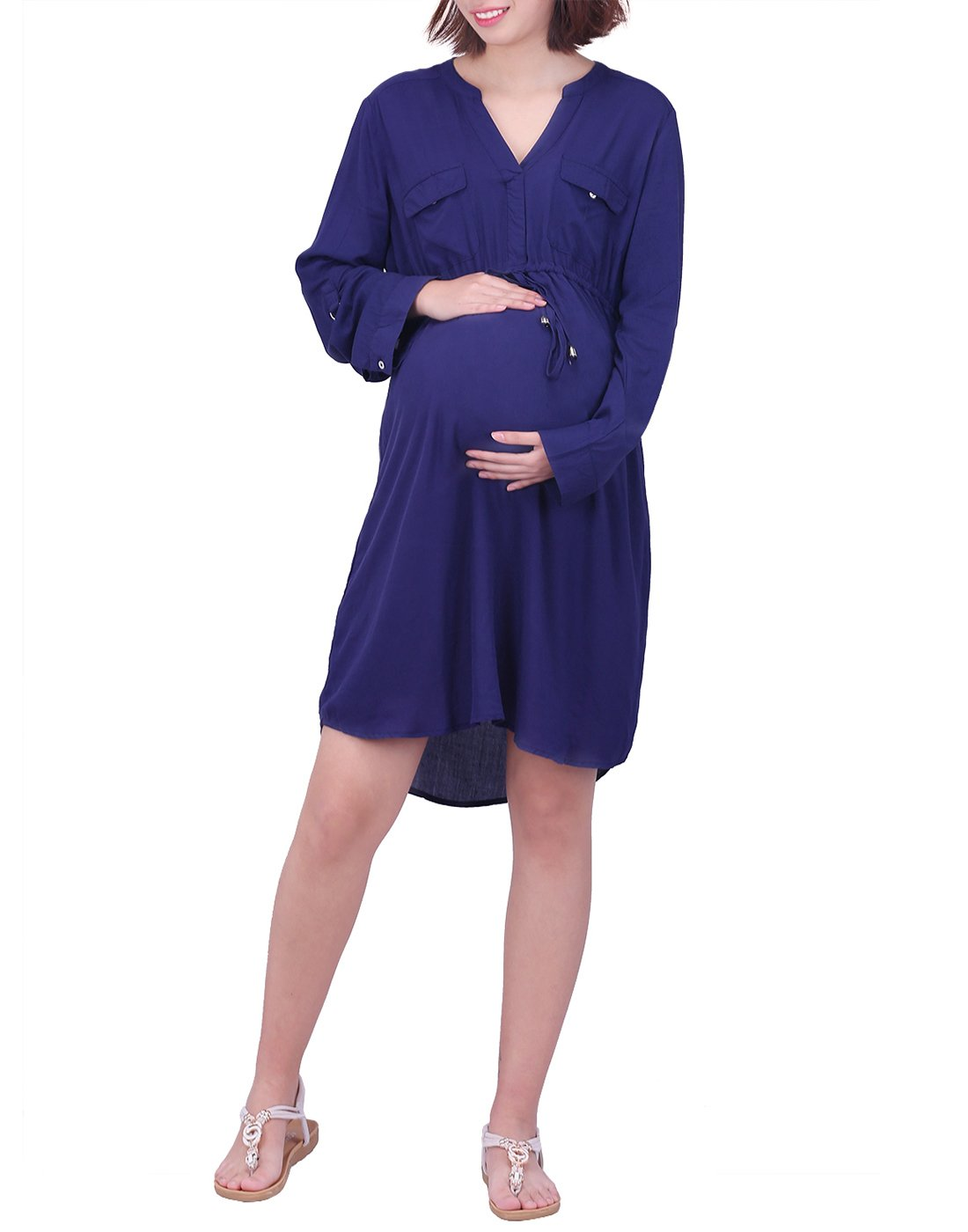 HDE Womens Maternity Dress Casual 3/4 Sleeve Tunic Shirt Office Work Dresses