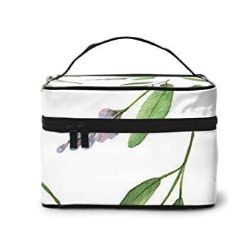 Green Flower Watercolor Herb Sage Leaves And Branches Makeup Bag Portable Travel Cosmetic Bag Makeup Case Organizer Storage Pouch Bags Box