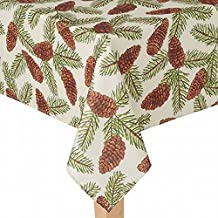 St Nicholas Square Woven Pine Cone Print Tablecloth Fabric Table Cloth 90 Round