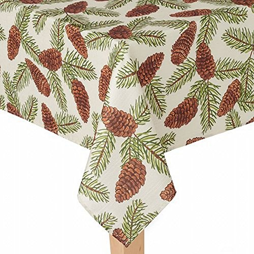 St Nicholas Square Woven Pine Cone Print Tablecloth Fabric Table Cloth 60x102 Ob (Kohls Tablecloths Christmas)