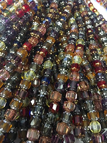 Czech Cathedral faceted antique looking beads mix 4 strands,120 beads approximate