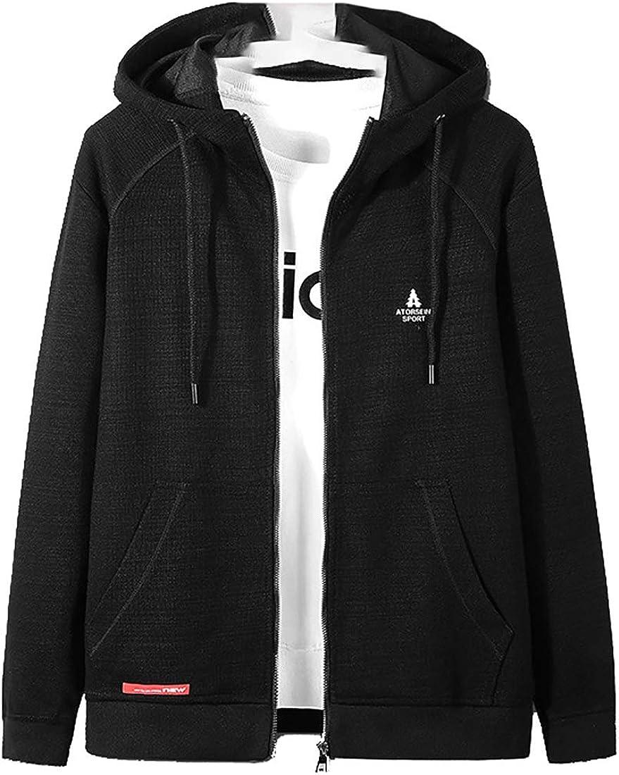 Men Lightweight Terry Full Zip Hoodie Hooded Sweatshirt