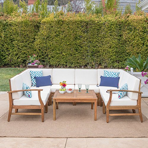 Lorelei Outdoor 8 Seater Teak Finished Acacia Wood Sectional Sofa and Table Set with Cream Water Resistant Cushions (Sofa Furniture Set Wood)