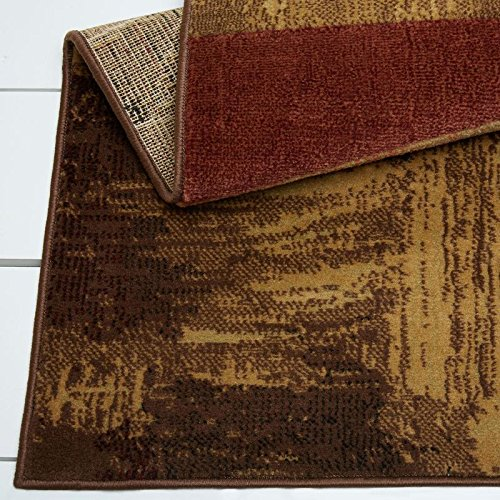 Home Dynamix Catalina Bismark Area Rug | Modern Living Room Rug | Abstract Square Design | Textural Brushstrokes | Brown, Beige and Red 5'3''x7'2'' by Home Dynamix (Image #3)