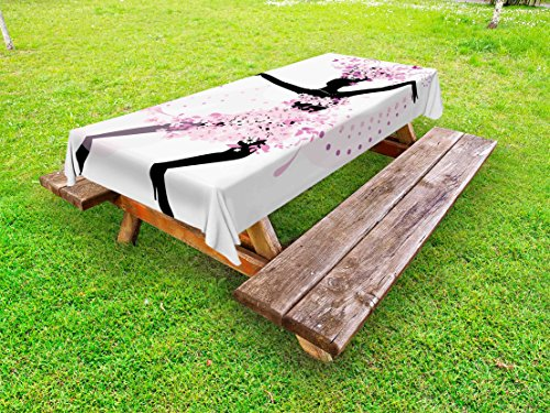 Ambesonne Latin Outdoor Tablecloth, Silhouette of a Woman Dancing Samba Salsa Latin Dances Spain and Mexico Culture Print, Decorative Washable Picnic Table Cloth, 58 X 84 Inches, Pink Black by Ambesonne