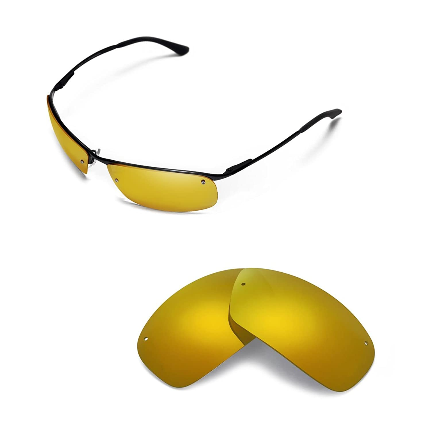 c14a78360ac Amazon.com  Walleva Replacement Lenses for Ray-Ban RB3183 63mm Sunglasses -  Multiple Options Available (24K Gold Mirror Coated - Polarized)  Sports    ...