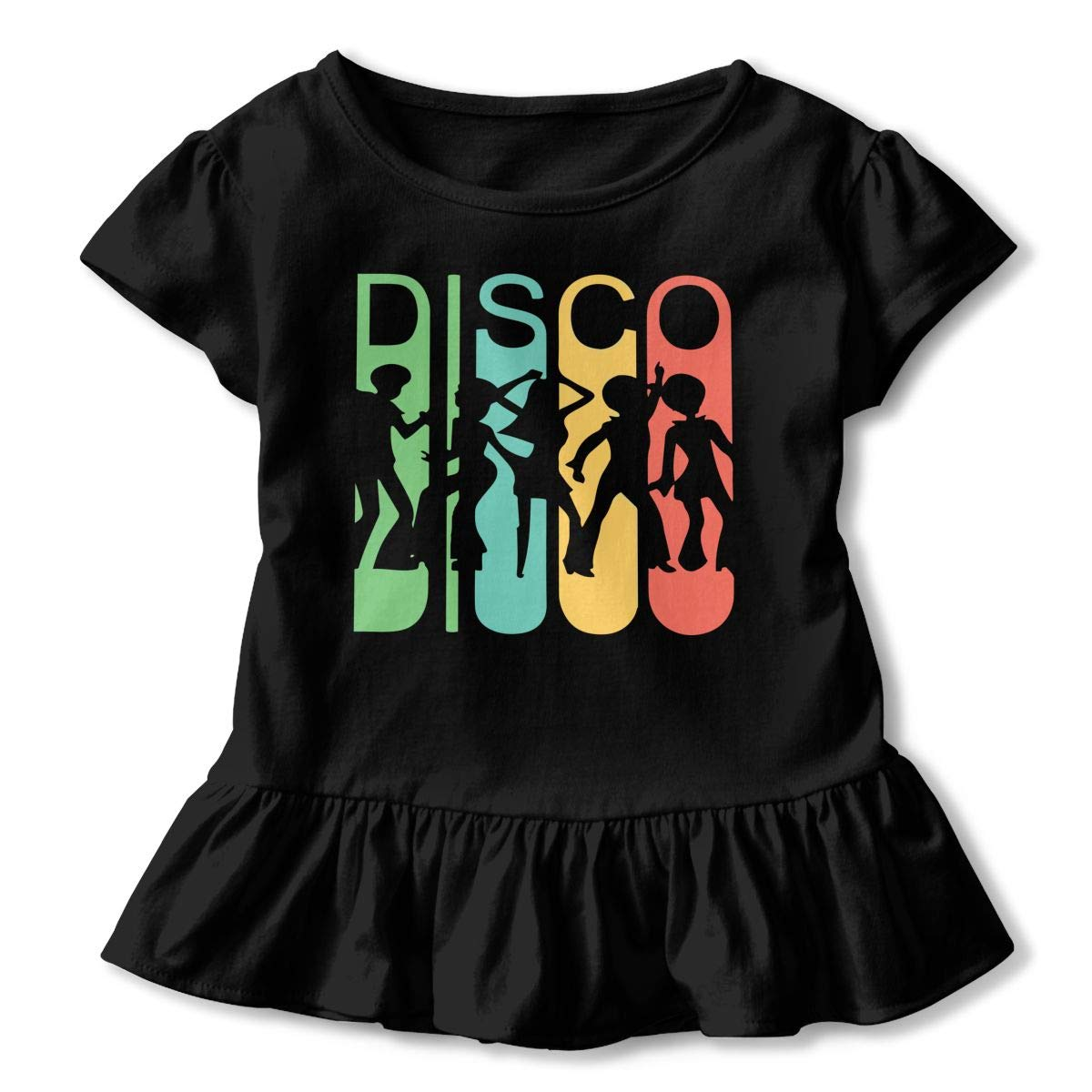 Vintage Retro 1970s Style Rainbow Disco Dancers Toddler//Infant Girls Short Sleeve Ruffles Shirt T-Shirt for 2-6T