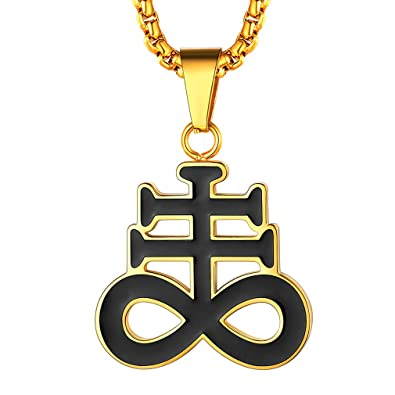 FaithHeart Cruz Leviatán Colgante Acero Inoxidable Collar Religioso con Cadena Ajustable Joyería Milagrosa para Hombre y Mujer Cruces Santánicas ...
