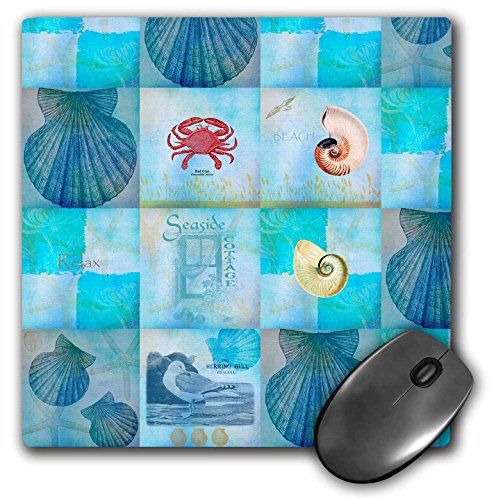 (3dRose LLC 8 x 8 x 0.25 Aqua Beach Seashell Collage Art Mouse Pad (mp_79384_1))