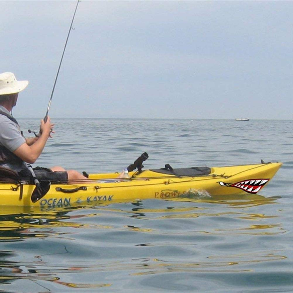 Purplert 2 Pezzi Sinistro Adesivo Destro Kayak Barca squalo Denti Accessori Adesivo Bocca Adesivo Adesivo Vinile Adesivo per Decalcomania squalo Barca Kayak