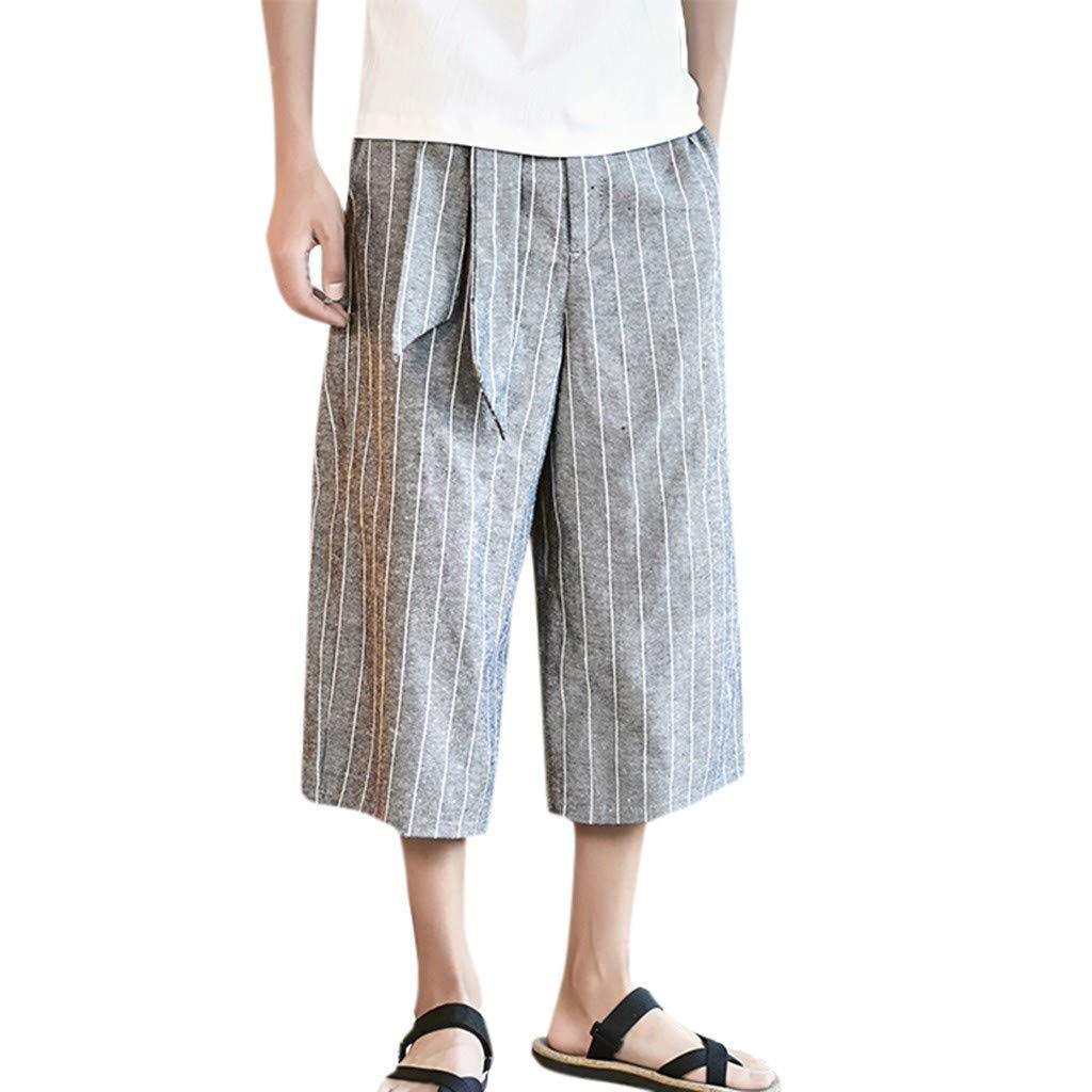BingYELH Men's Casual Loose Fit Straight-Legs Stretchy Waist Beach Pants Drawstring Gym Fitness Joggers Workout Yoga Pants Gray
