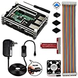 REXQualis Raspberry Pi 3 Case with Fan and Heatsinks, 5V/2.5A Power Supply with On/Off Switch, T Type GPIO Breakout board, 40 Pin Rainbow Cable Case compatible with RPi 3 2 3b 2b - Not Fit For 3 B+