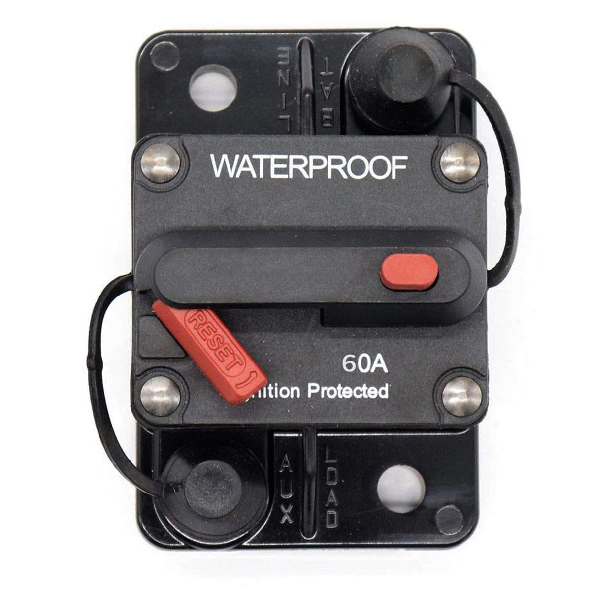 GZLMMY Waterproof Circuit Breaker Surge Protector with Manual Reset Button 12V- 72V DC Fuse Inverter for Car RV Marine Boat (60A)