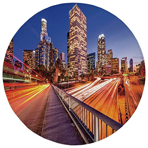 Round Rug Mat Carpet,Night,USA Downtown City Skyline Over The Highway Los Angeles California Travel Destination,Multicolor,Flannel Microfiber Non-Slip Soft Absorbent,for Kitchen Floor Bathroom (Time Difference Between Los Angeles And Ohio)