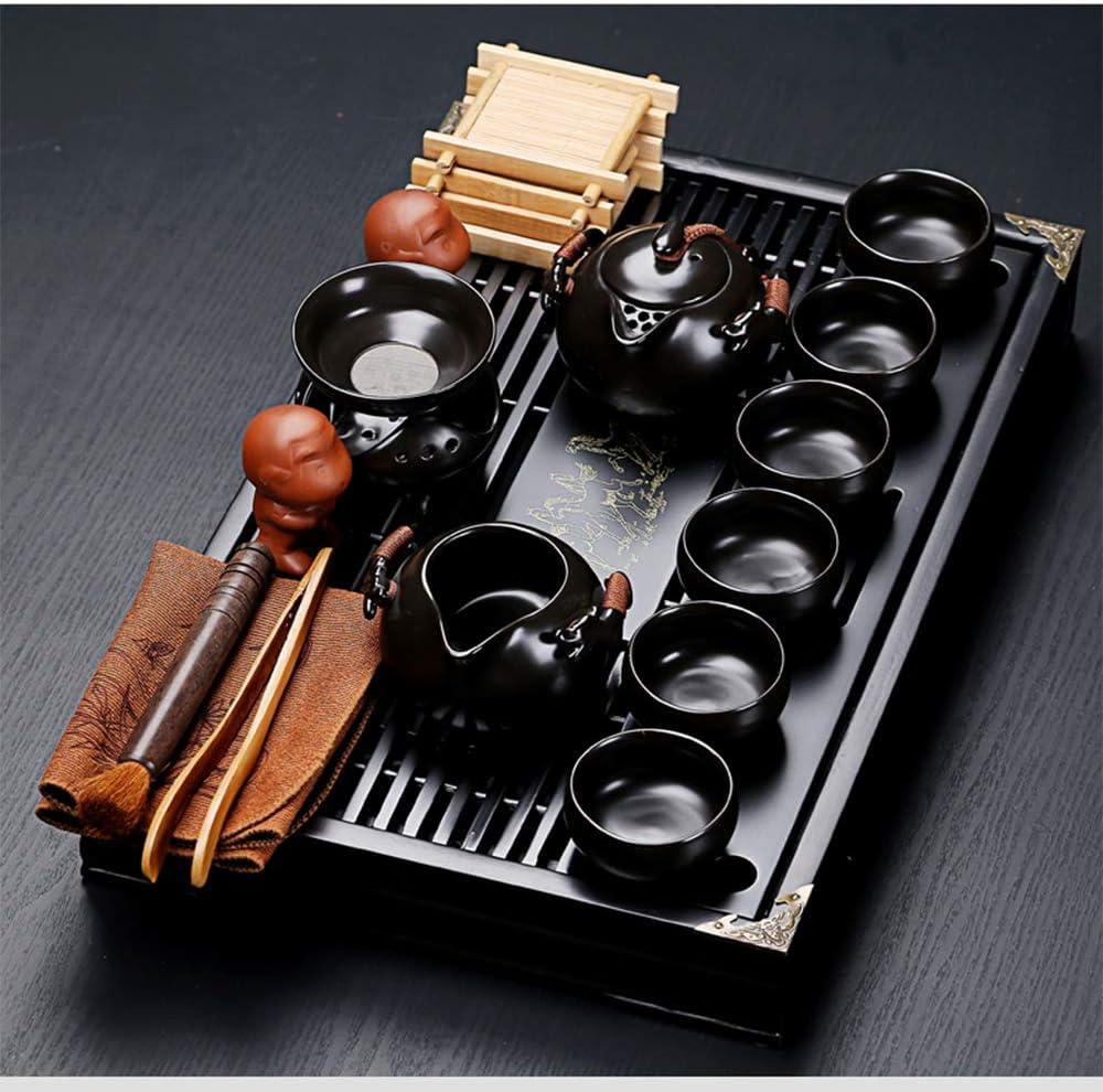 fanquare Service /à Th/é en C/éramique Noire Chinoise Kung Fu avec Plateau et Petits Outils /à Th/é Service /à Th/é en Porcelaine