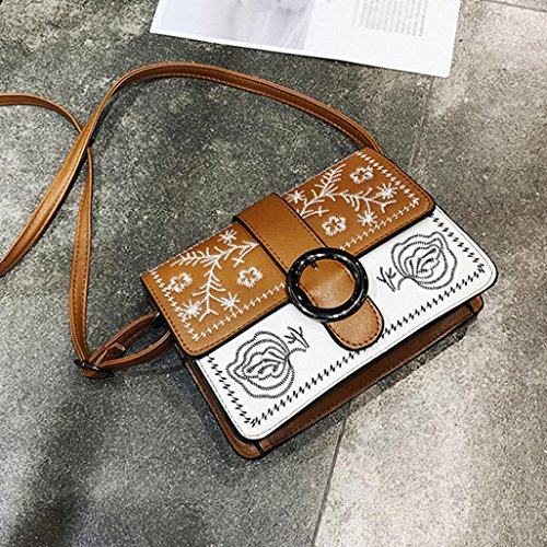 Metal Leather buckle Cover Embroidery Bag Muium Crossbody Brown Ladies Fashion Women Bag Messenger nWqx1WzIR