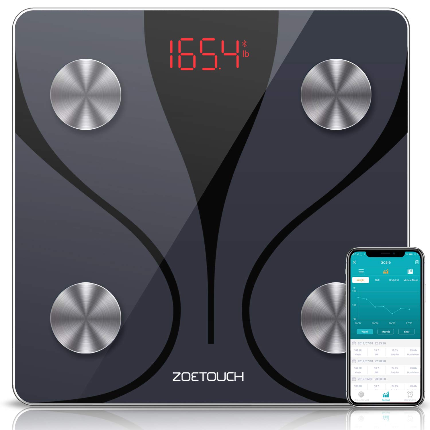 ZOETOUCH Bluetooth Body Fat Scale with iOS & Android App, Smart Digital Bathroom Weight Scale, Body Composition Monitor - Black by 1 BY ONE