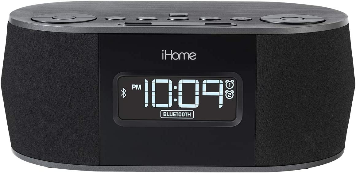 iHome Wireless Bluetooth Stereo, Dual FM Alarm Clock Radio, USB Charging, Alarm Clock For Bedrooms, Alarm Clock, Voice Echo Cancellation, Twin Speakers, Hi-Quality Sound, Battery Backup, Display, Blac