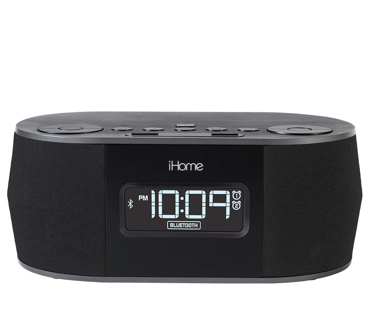 iHome Wireless Bluetooth Stereo, Dual FM Alarm Clock Radio, USB Charging, Alarm Clock For Bedrooms, Alarm Clock, Voice Echo Cancellation, Twin Speakers, Hi-Quality Sound, Battery Backup, Display, Blac by iHome