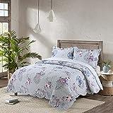 queen quilt birds - vivinna Cotton Quilt queen/double size Sets -3pcs include 2 pillow Shams patchwork Bedspread blanket (Purple bird, Queen:90
