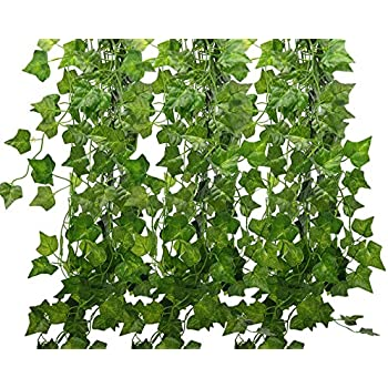 Amazon artificial hanging plants wisteria vine garland ivy 84 ft fake ivy silk vines hanging plants artificial flowers garland greenery for wedding party decorations diy floor garden office pack of 12 mightylinksfo Choice Image